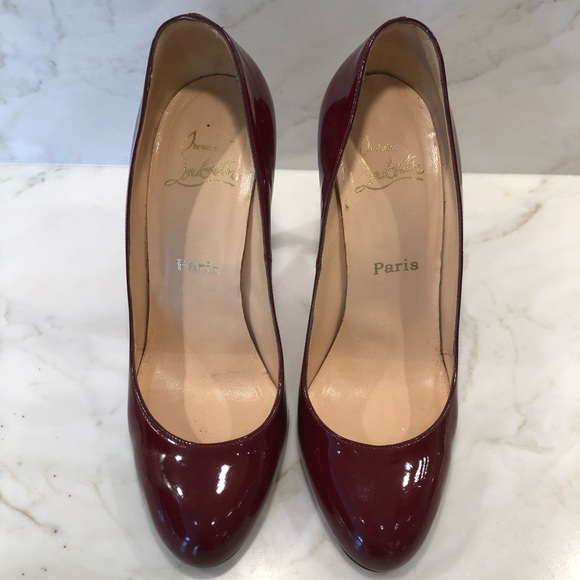 Christian Louboutin deep red patent leather heels